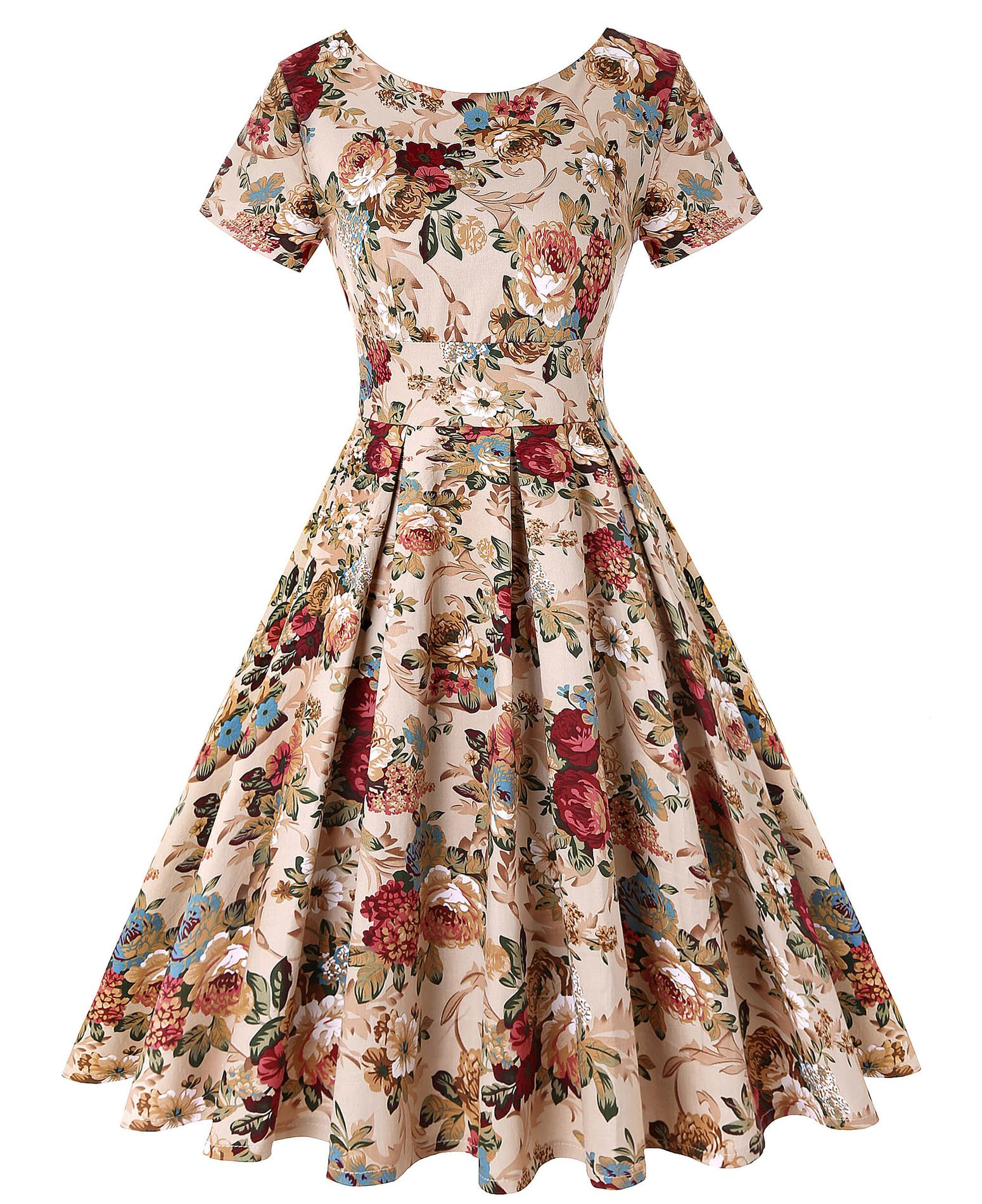 ROOSEY Womens 1950s Vintage Dresses Short Sleeve Rockabilly Cocktail Party Swing Dress, Pattern 3, Large