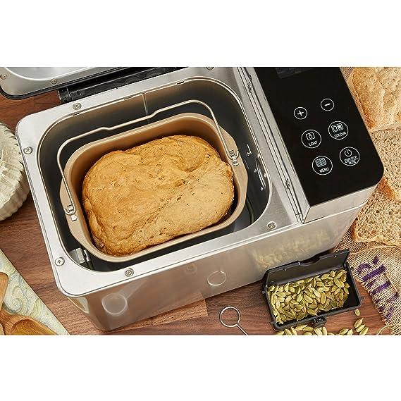 Panificadora digitale cocinado Fraiche Andrew James con 17 funciones, despedida retardado y dispensador automático para ingrédients: Amazon.es: Hogar