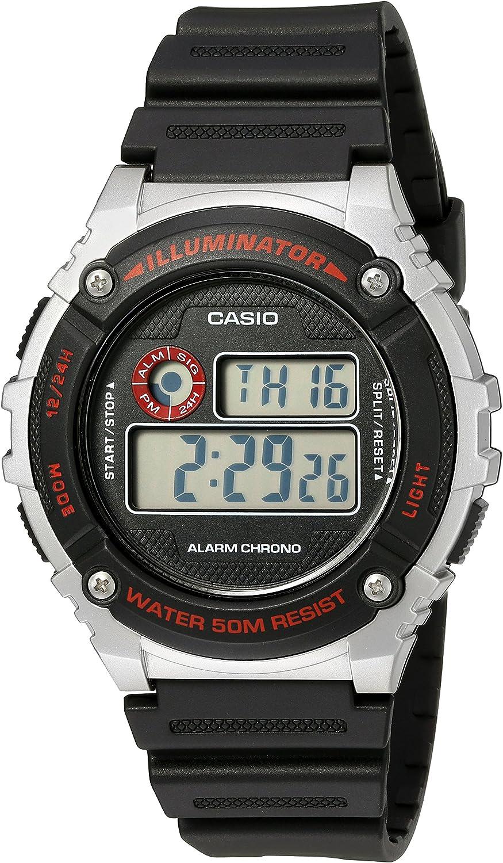 Casio Men s Illuminator Quartz Resin Watch, Color Black Model W-216H-1CVCF