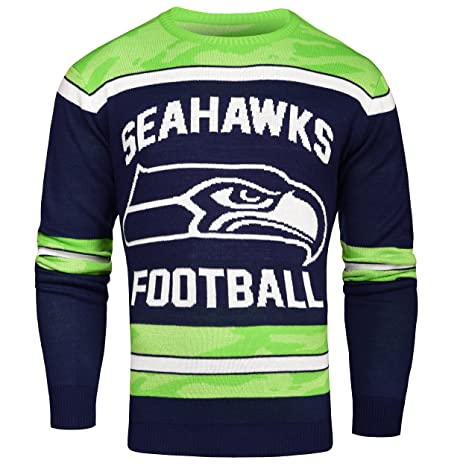 0881bc42357 Amazon.com   Seattle Seahawks Ugly Glow In The Dark Sweater - Mens ...