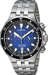 Edox Mens Delfin Quartz Stainless Steel Dress Watch, Color:Silver-Toned