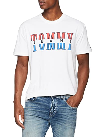 c2da7045d157 Tommy Jeans Homme Split Logo Débardeur Manches Courtes Blanc (Classic White  100) Small