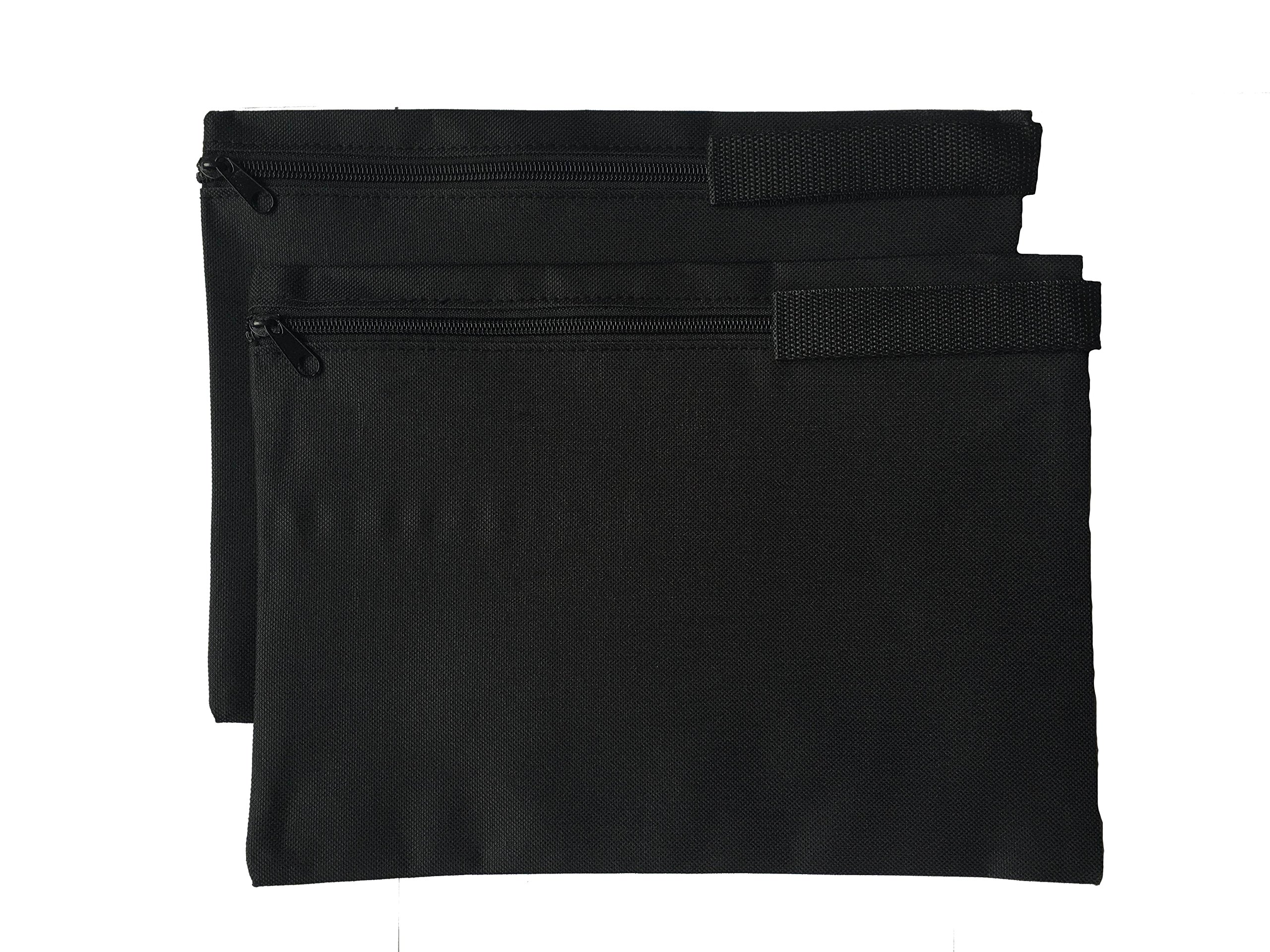 ImpecGear Document Bags, Safe Accessories Bag, Poly Cloth Value Pack of 2, (12.5'' x 9.5'') (Black)