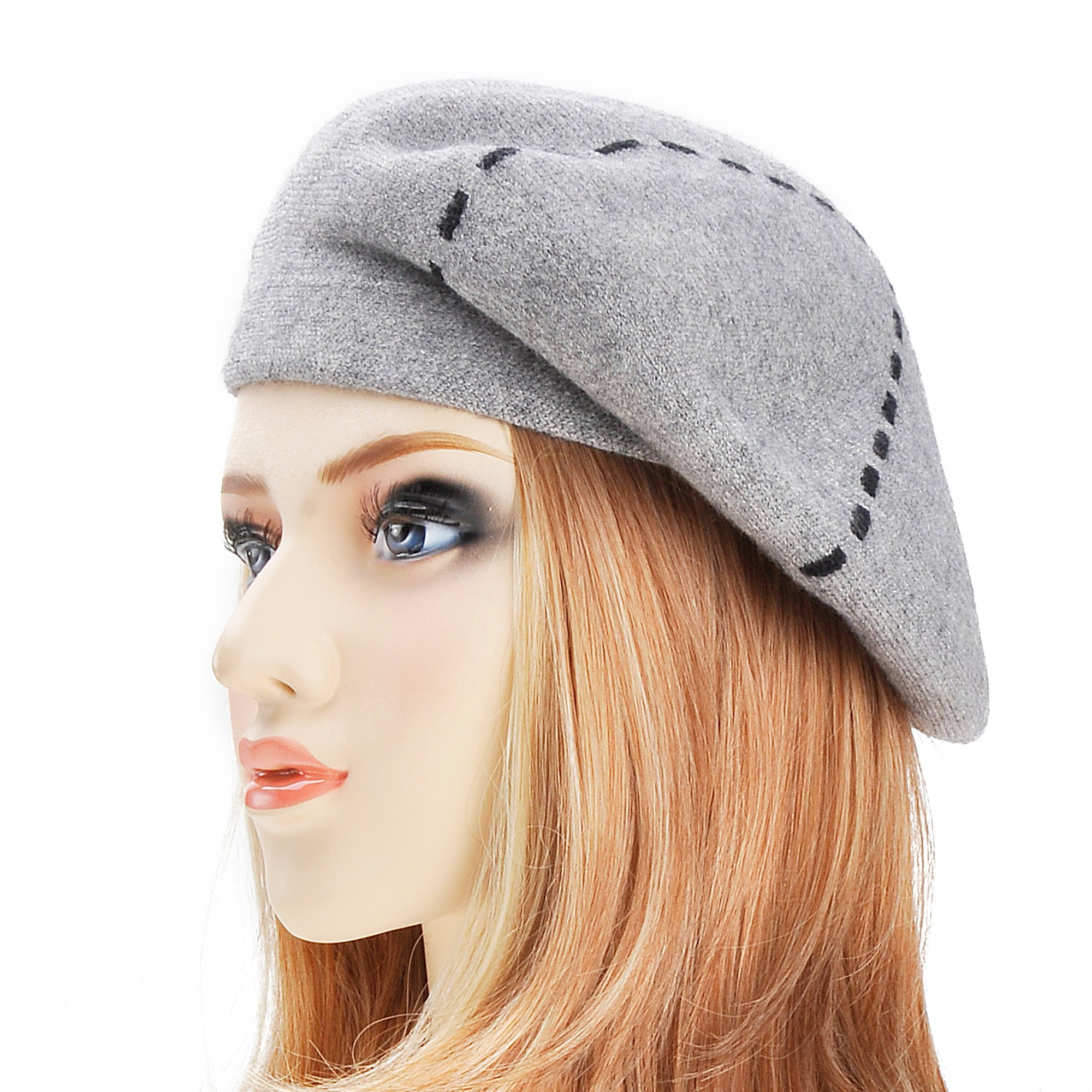 ZLYC Womens Reversible Cashmere Beret Hat Double Layers French Beret, Gray by ZLYC (Image #1)