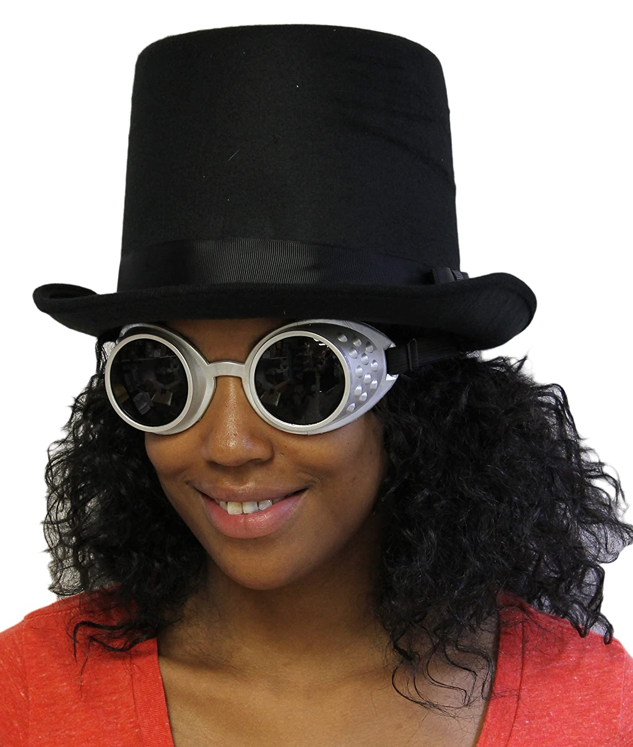Costume Acessory Set - Unisex Adult Steampunk Top Hat and Goggles Set
