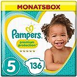 Pampers Premium Protection, Gr.5 Junior, 11-16kg, Monatsbox, 1er Pack (1 x 136 Stück)