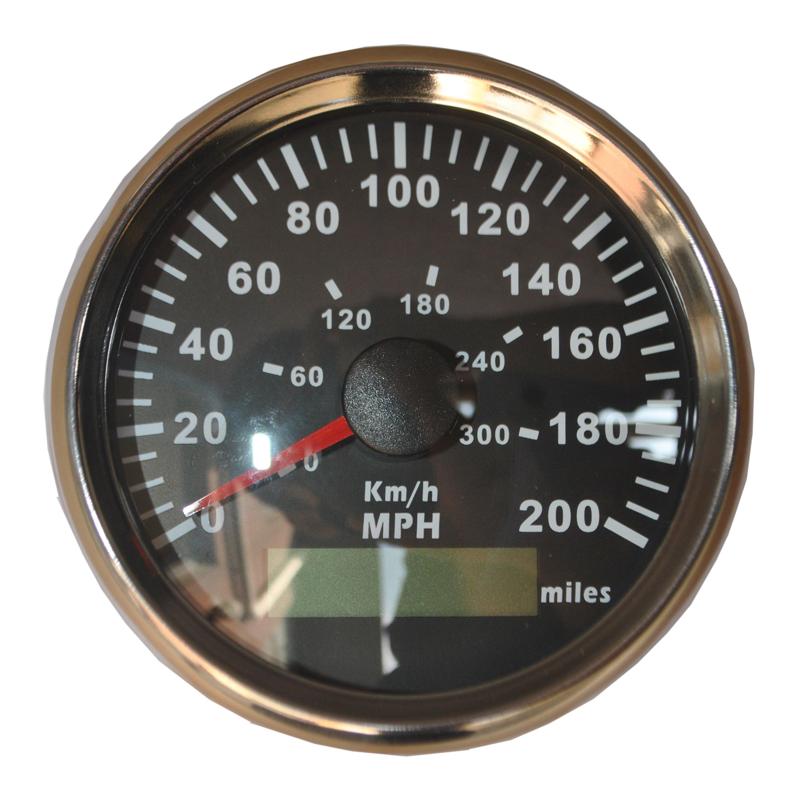 GPS KM/H MPH Miles Speedometer Gauge Odometer ATV UTV Motorcycle Marine Boat Buggy Golf Chrome Bezel Black Panel