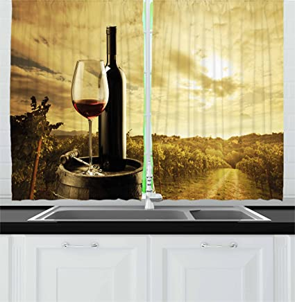 Amazon.com: Ambesonne Wine Kitchen Curtains, Red Wine Bottle ...