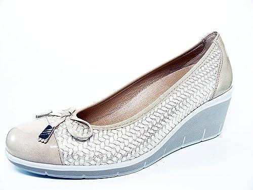 Zapato casual mujer salon con lazo en piel trenzada Beige comb. Charol Oro de PITILLOS