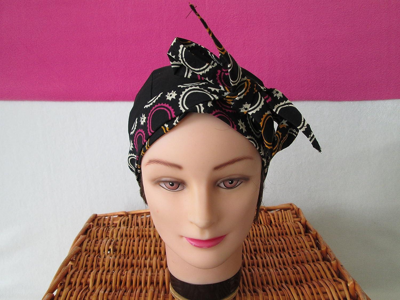 Foulard, turban chimio, bandeau pirate au féminin noir avec des ronds fuchsia