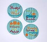 Fall Pumpkin Barnwood Coasters Neoprene Set of 4