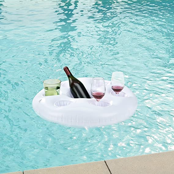 [casa.pro] Colchoneta bandeja hinchable de piscina - bar flotante - con soporte para 6 vasos y 1 botella/cubo - blanco