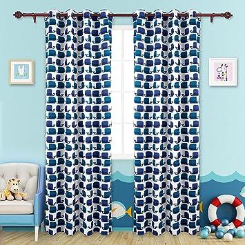 Deconovo Lot De 2 Rideaux Occultants Motif Baleine Bleu à Oeillets Pour  Chambre Enfant 140x245cm Isolant