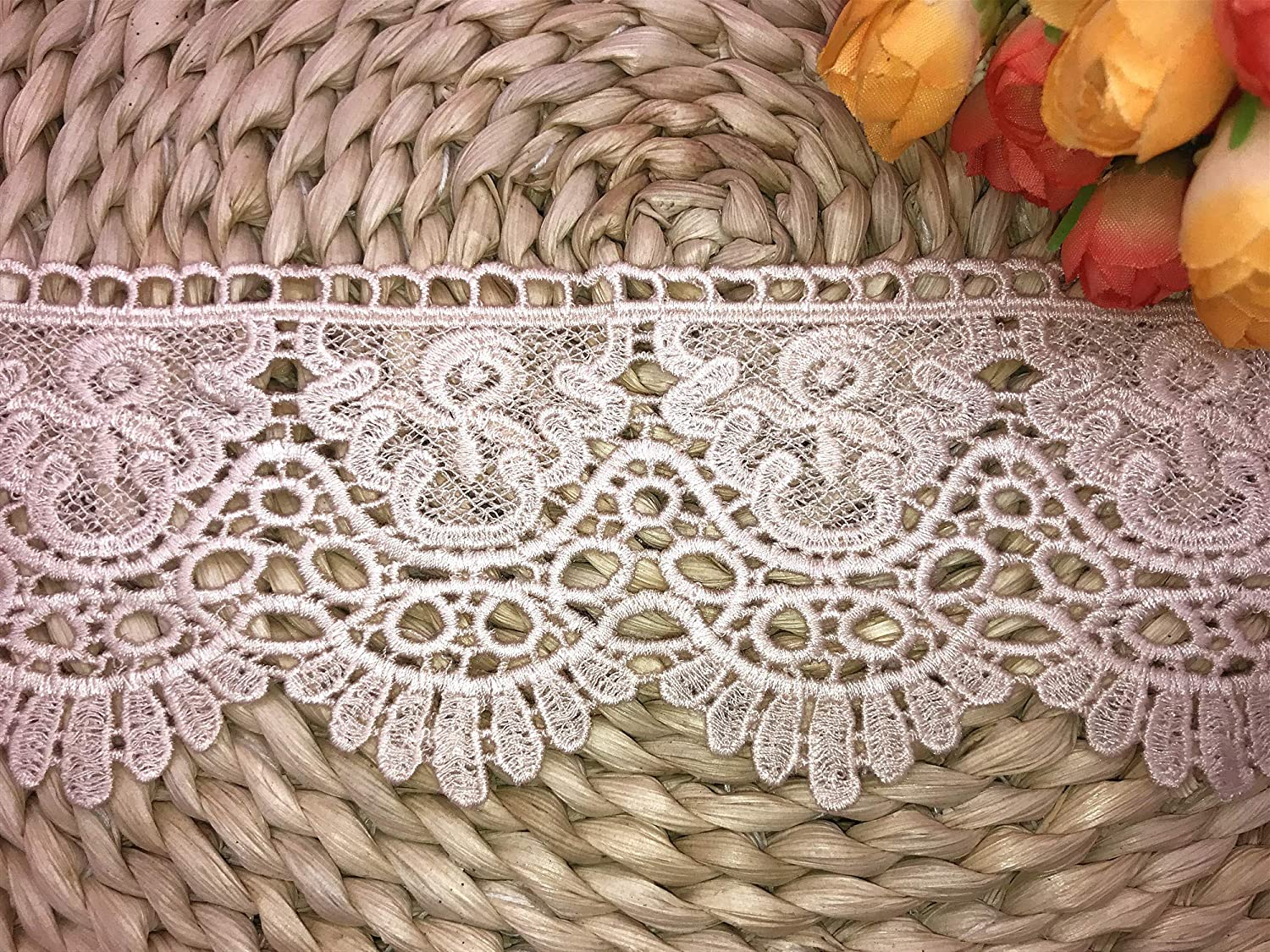 Black 2 Yards in one Package 9CM Width Europe Chips Pattern Inelastic Embroidery Lace Trim,Curtain Tablecloth Slipcover Bridal DIY Clothing/Accessories.