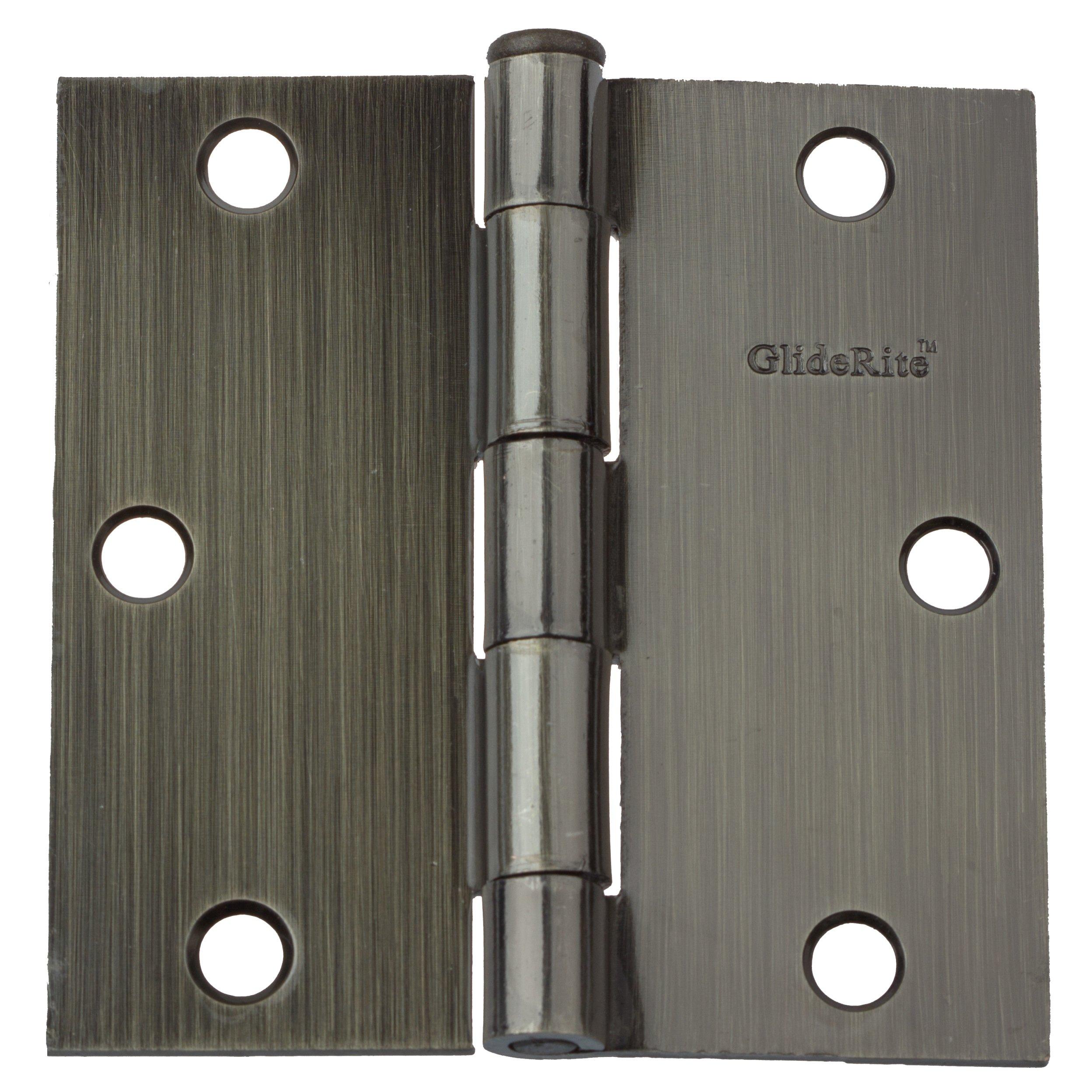 GlideRite Hardware 3500-AB-21 3.5 inch steel Door Hinges Square Corners Antique Brass Finish 21 Pack