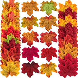 Zhanmai 500 Pieces 10 Colors Assorted Fake Silk Autumn Maple Leaves Artificial Fall Leaf for Weddings, Events and Decorating