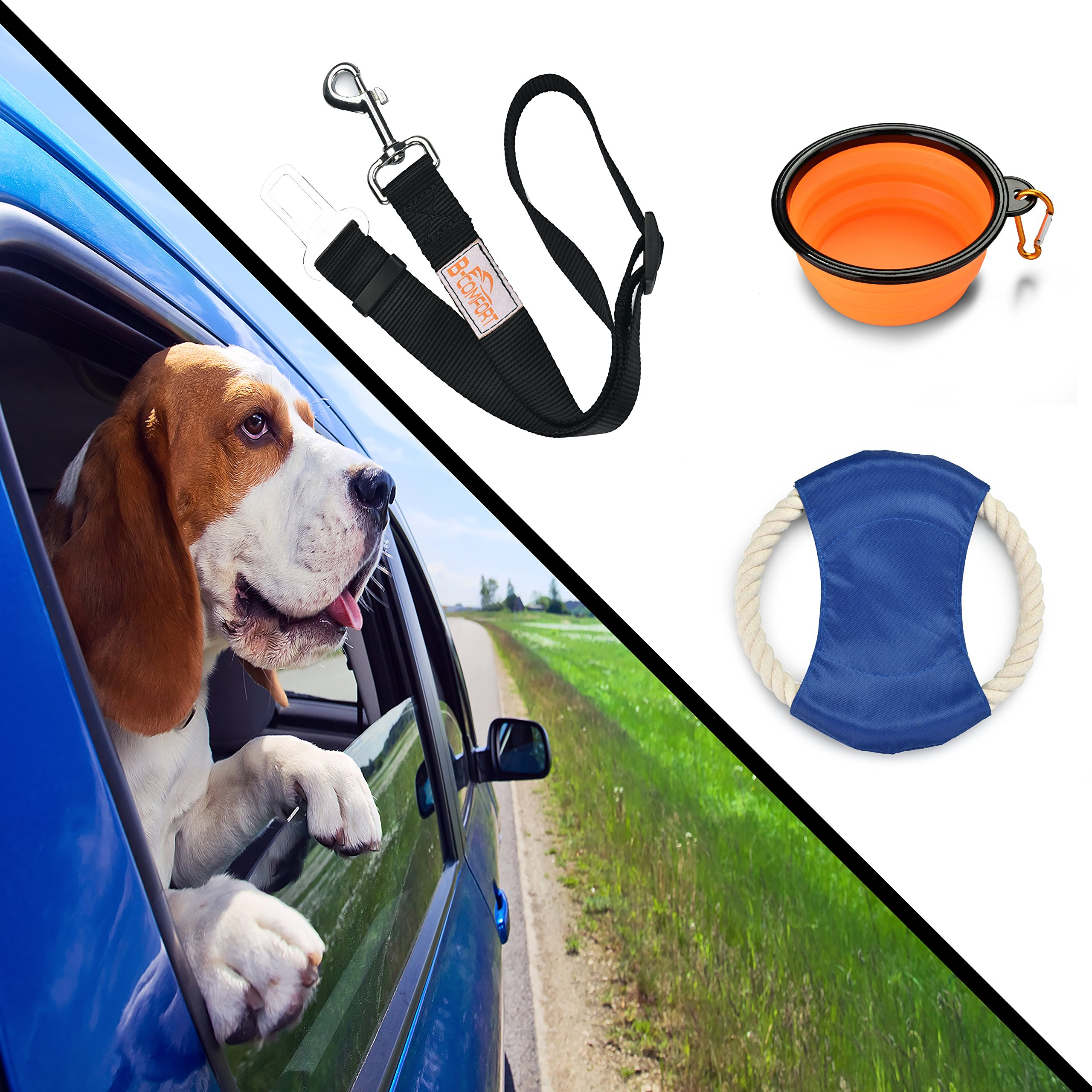 B-comfort Pet Travel Accessories-Adjustable Black Car Dog Seat Belt for Harness,Food Grade Collapsible Silicone Water Bowl,Training Frisbee Flying Discs Chew Rope Toy-for Small/Medium/Large Dogs