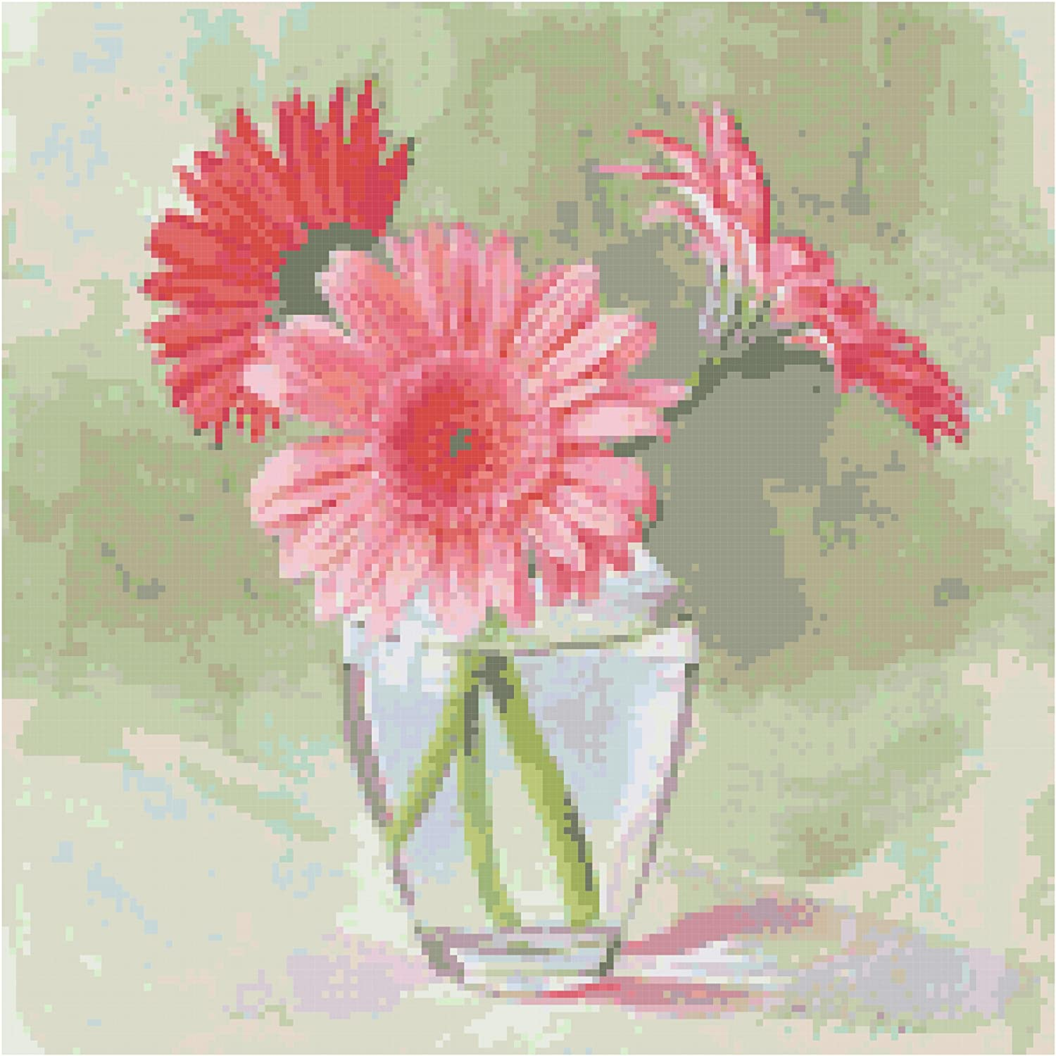 Amazon.com: Coral Gerbera Daisies Flowers Counted Cross Stitch ...