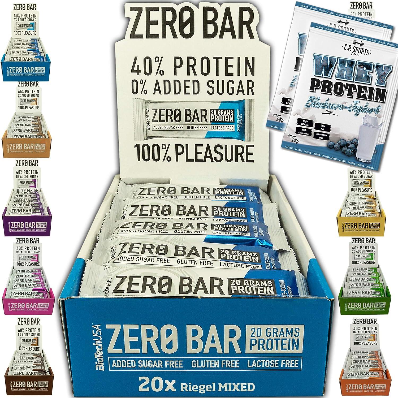 BioTech USA Zero Bar Mix Box - 20 barritas de 50 g en al menos 6 sabores con aislamiento de proteína de suero sin azúcar añadido + 2 bolsas de ...