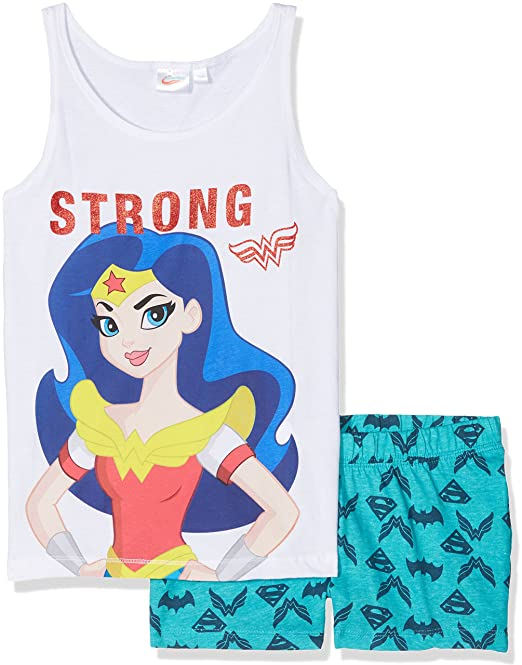 DC Comics Wonderwoman, Conjuntos de Pijama para Niñas, Azul (Blue Turquoise),