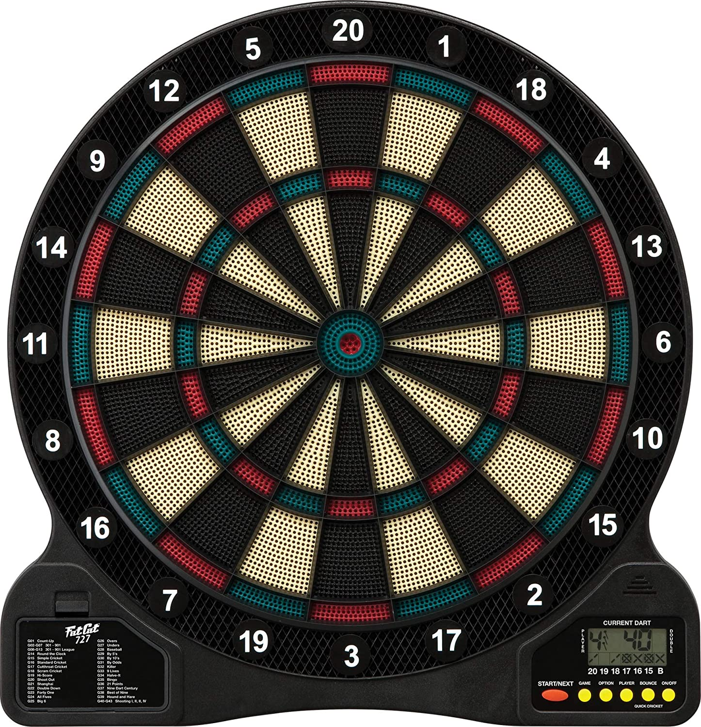 Fat Cat 727 Electronic Dartboard, Easy To Use Button Interface, Automatic Voice Feedback, Included Darts And Built In Storage, Mulitplayer For Up To 8 Players, 43 Games 201 Options : Dartboards : Sports & Outdoors