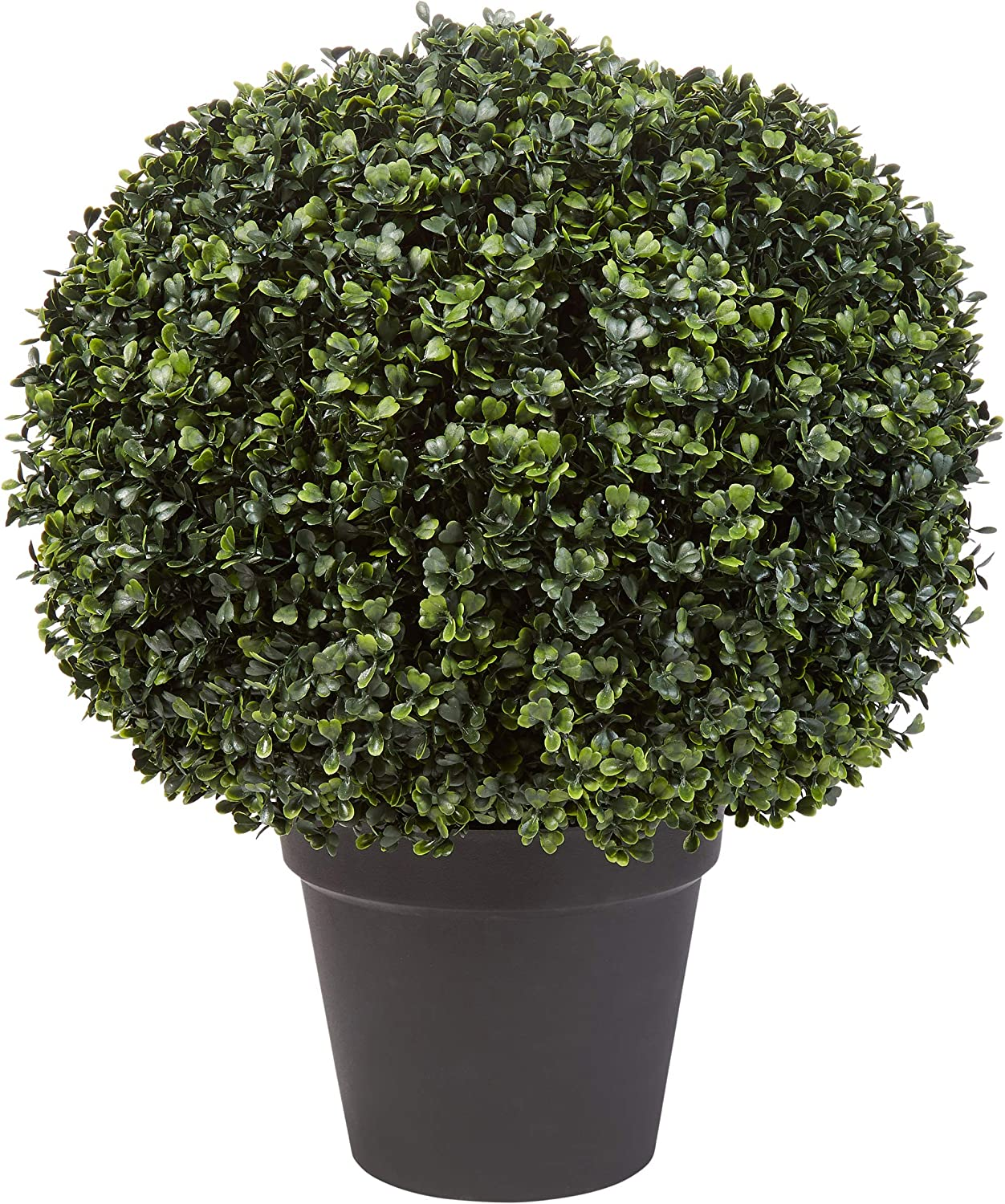 "Home Pure Garden Faux Boxwood– Realistic Plastic Decorative Topiary Arrangement and Weighted Pot for Indoor or Outdoor Office (23"" H x 18"" W)"