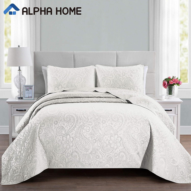 ALPHA HOME 2-Piece Lightweight Bedspread Set, Comforter Bedding Quilt Set, Twin Size, Ivory: Home & Kitchen