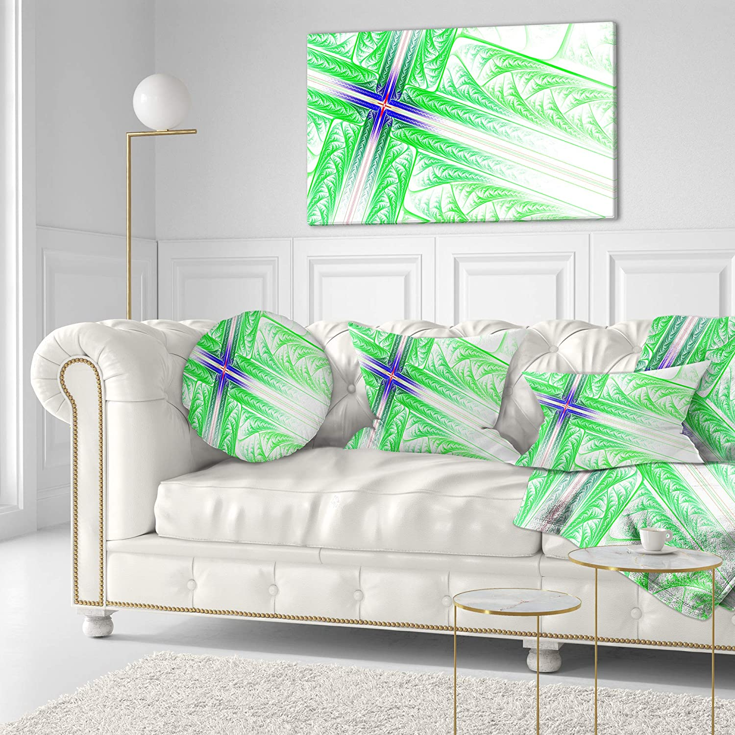 Sofa Throw Pillow 16 Designart CU15961-16-16-C Bright Green Fractal Cross Design Abstract Round Cushion Cover for Living Room Insert Printed On Both Side