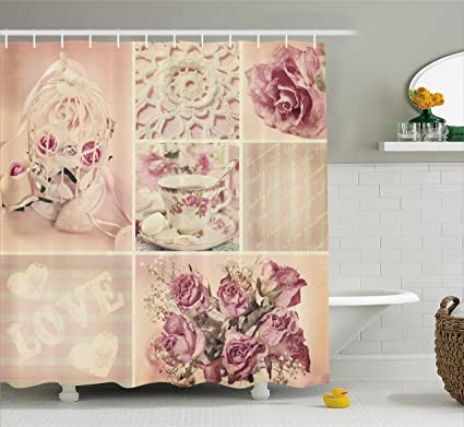 Ambesonne Shabby Chic Shower Curtain Grandmother Mothers Day Vintage Themed Lace Cage Cups Flowers