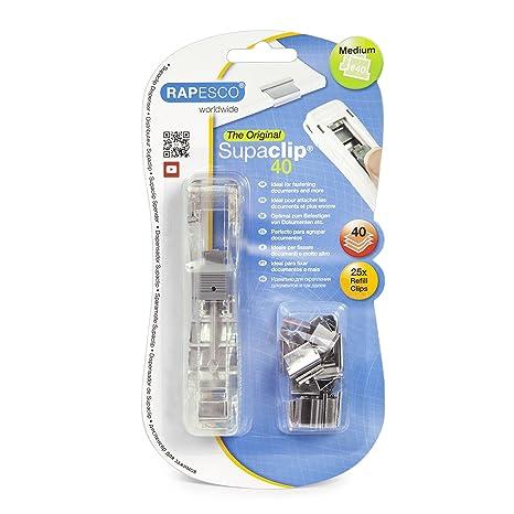 Rapesco supaclip - Dispensador de supaclips con 25 clips plateados, hasta 40 hojas, traslucido