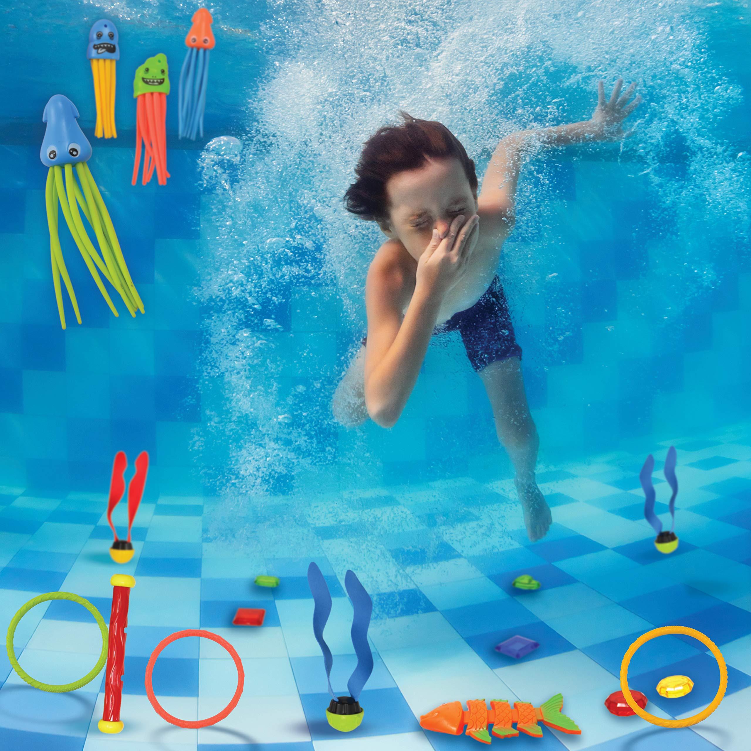 JOYIN 30 Pcs Diving Pool Toys Jumbo Set Includes (5) Diving Sticks, (6) Diving Rings, (5) Pirate Treasures, (4) Toypedo Bandits, (3) Diving Toy Balls, (3) Fish Toys, (4) Stringy Octopus by JOYIN (Image #2)