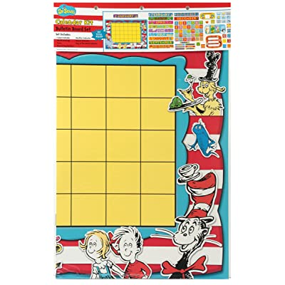 Eureka Classroom Supplies Back to School Dr. Seuss Teacher Calendar Bulletin Board Set, 122 pcs : Cat In The Hat Calendar : Office Products