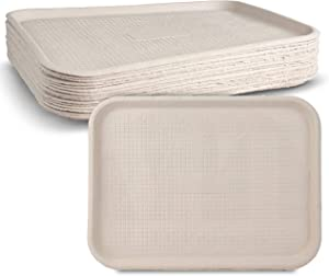"White Rectangular Molded Fiber Pulp Cafeteria Style Food Tray Size of 12""x 16"" by MT Products (15 Pieces)"