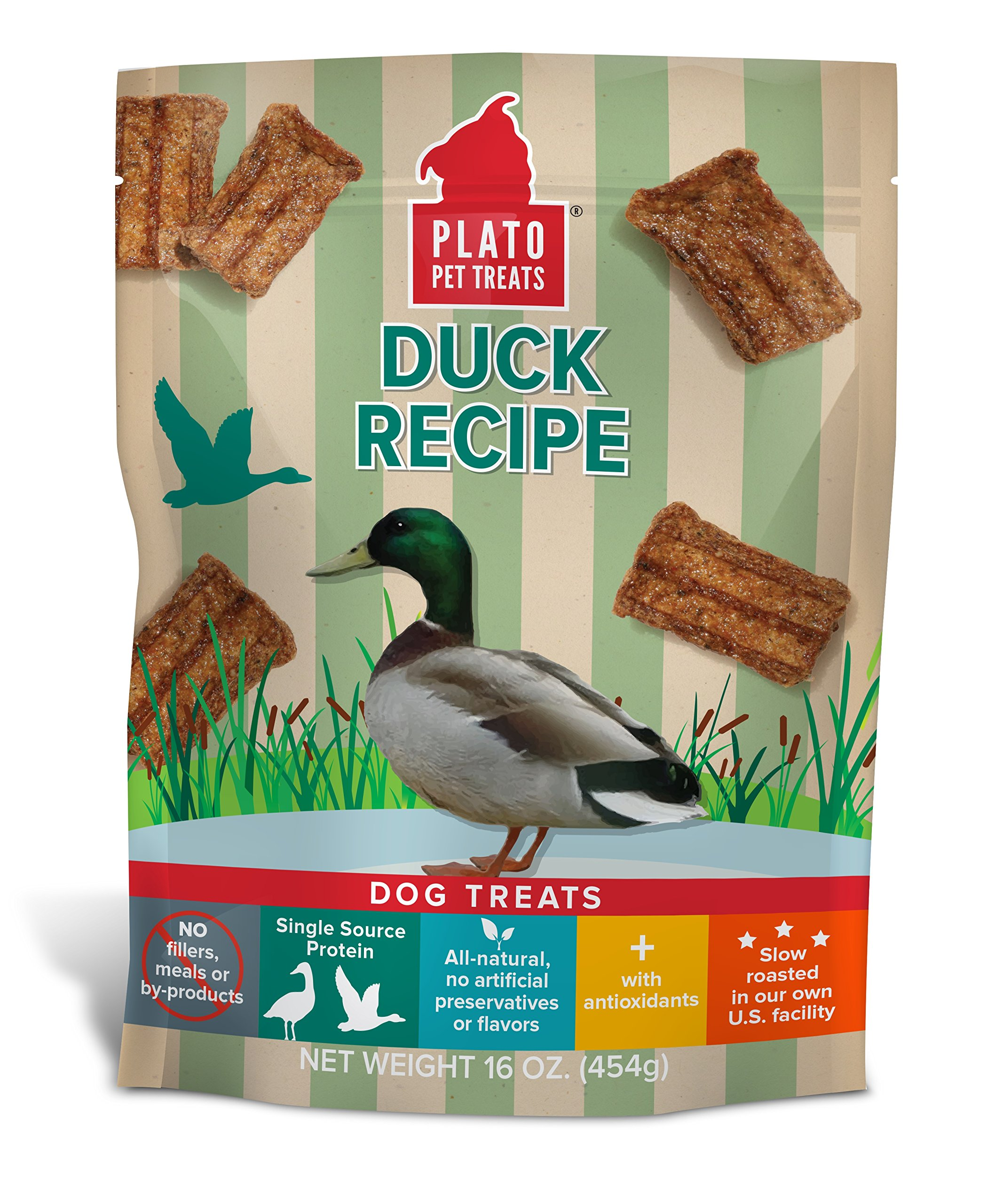 PLATO Dog Treats – Natural Duck Flavor– Chewy and Delicious, Joint and Heart Healthy, Training Pet Treats, All-Natural, Non-GMO, No Artificial Flavors, or Preservatives, Made in the USA, 16 oz
