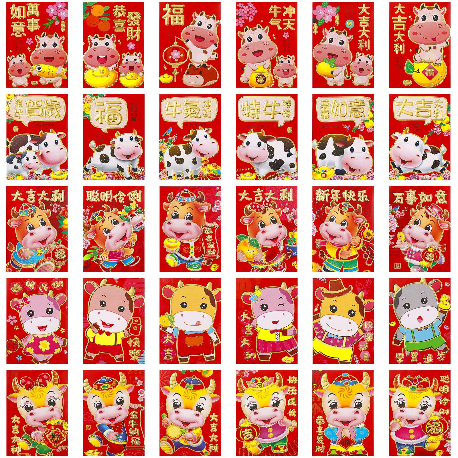 60 Pieces Chinese New Year Red Envelopes Red Packet Envelopes 2021 Chinese Ox Year Hong Bao Lucky Money Pouches for 2021 Spring Festival Wedding, 30 Designs, 3.2 x 4.5 Inches