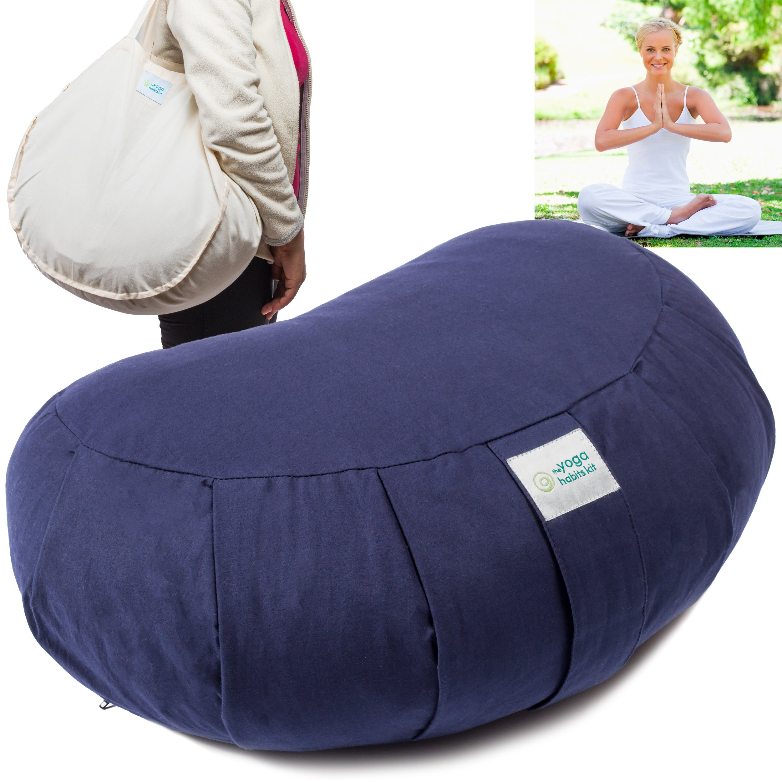 Zafu Crescent Meditation Cushion from Natural Cotton – Floor Sitting Pillow Bolster for Meditating – For Yoga Styles such as Kundalini, Pranayama, Zen or Vipassana – Free Yoga Bag by Yoga Habits Kit