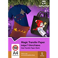 Raimarket Iron on Transfer Paper for Dark Fabric (T-Shirt Transfer Paper) | 5 Sheets | A4 Inkjet Iron On Transfer Paper…