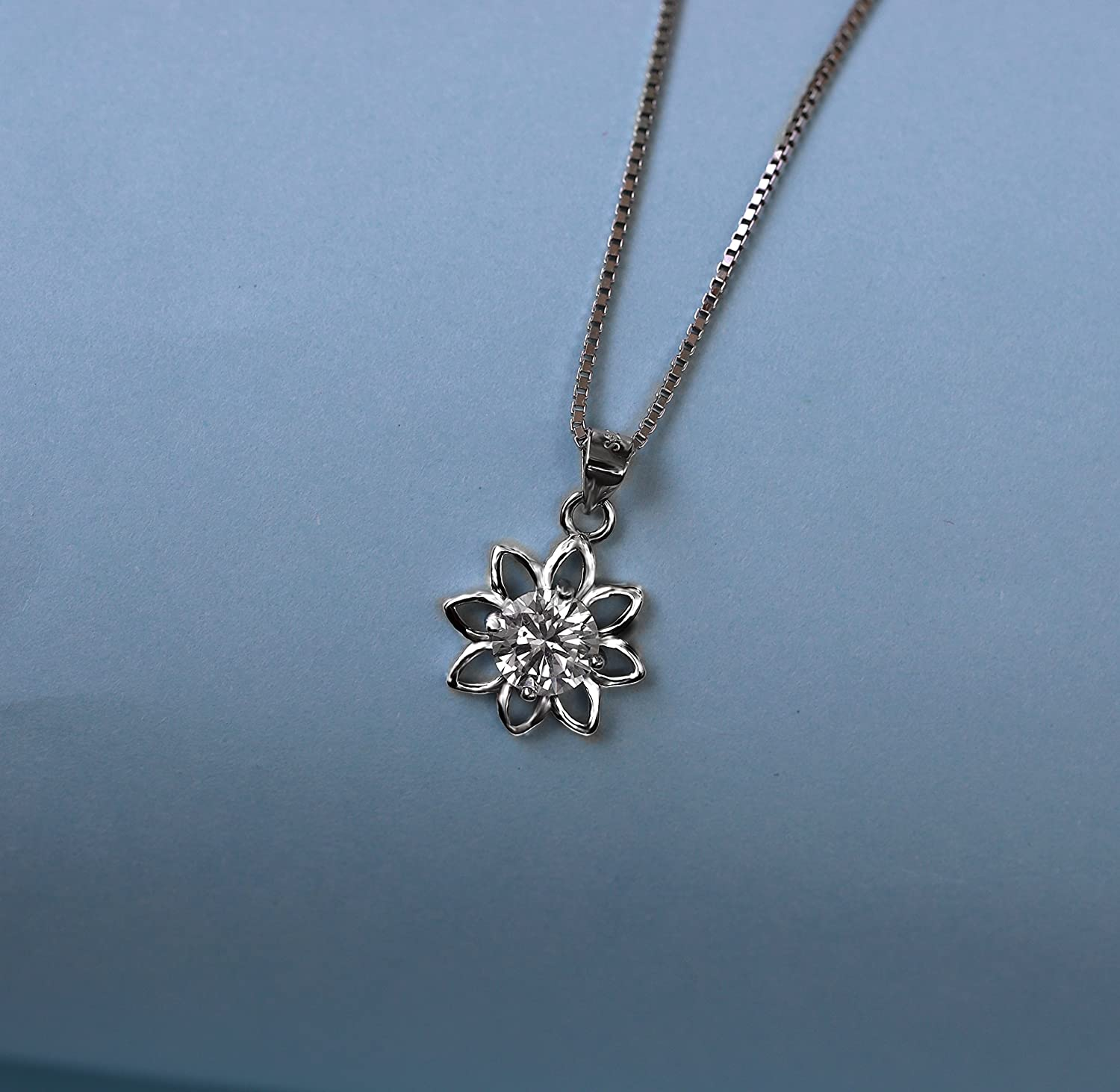 POLITENY Monthe Day Gift 18k Gold Plated 925 Sterling Silver CZ Flower Pendants Necklaces for Women 18