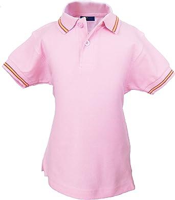 Pi2010 - Polo niño con Bandera de España en Cuello y Mangas, Rosa, 100% algodón: Amazon.es: Ropa y accesorios