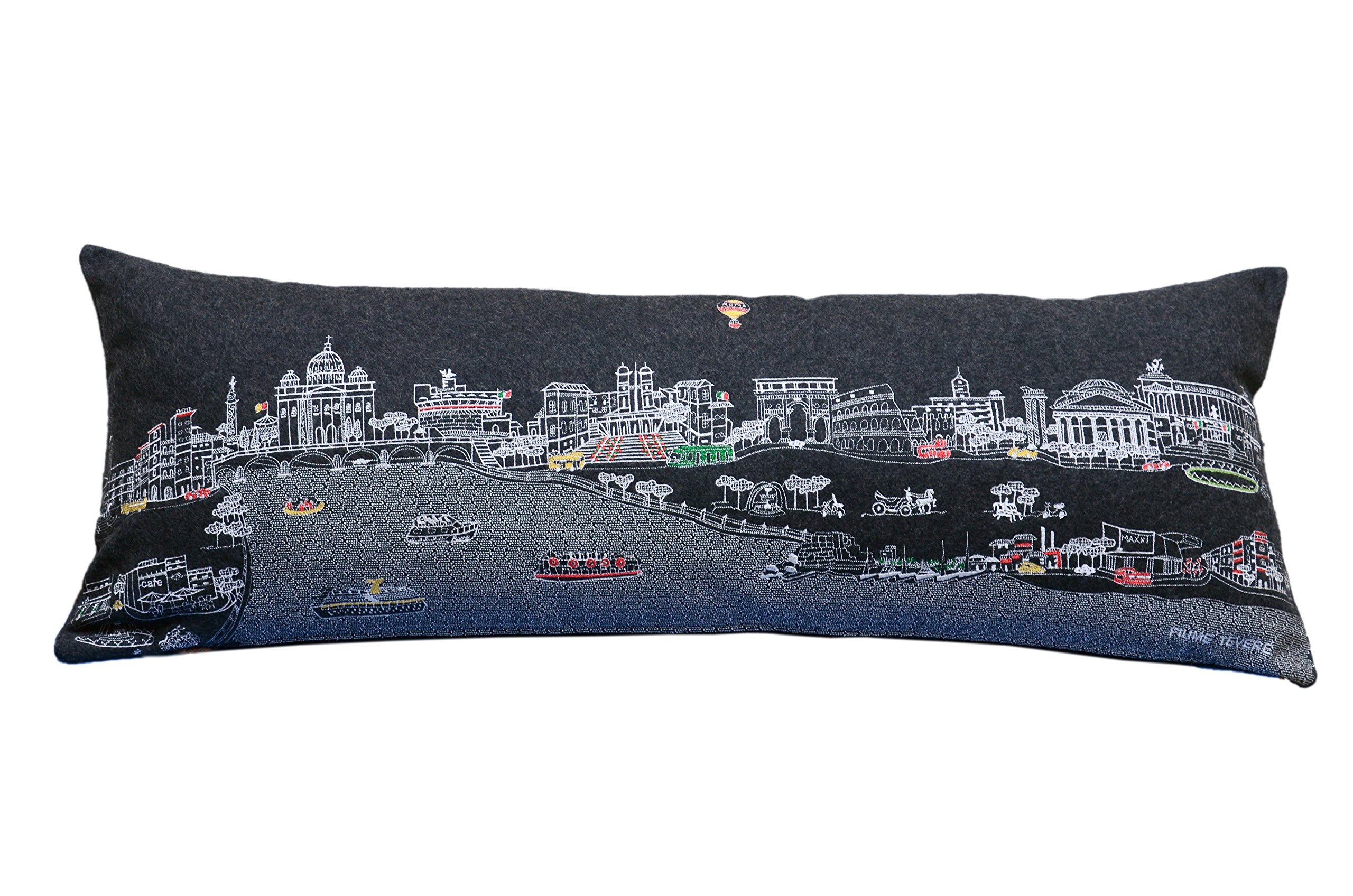Beyond Cushions Polyester Throw Pillows Beyond Cushions Rome, Italy Night Skyline Queen Size Embroidered Accent Pillow 35 X 14 X 5 Inches Black Model # ROM-NGT-QUN