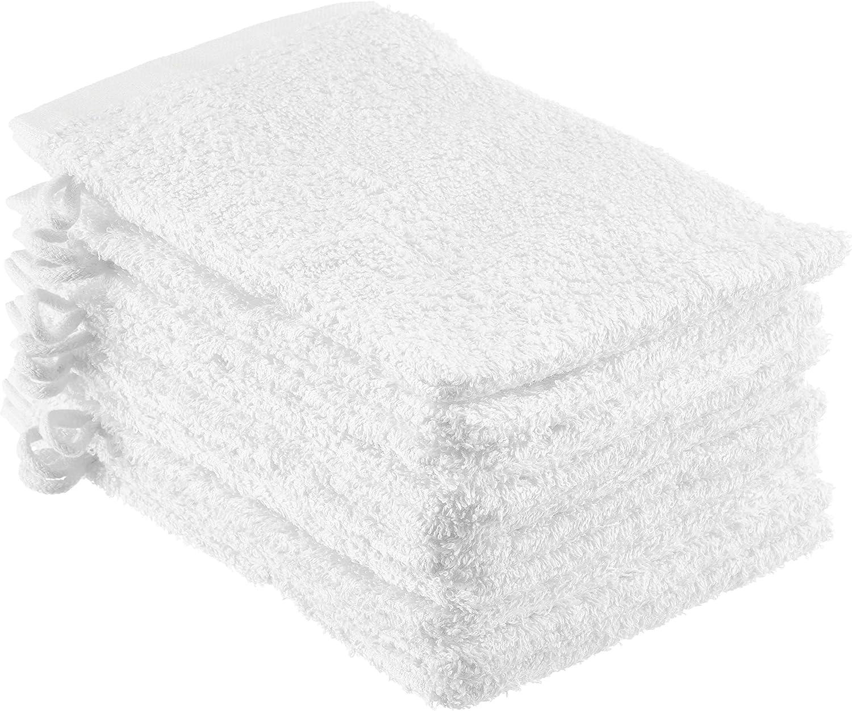 NatureMark NM-HT0829 Guanti da Bagno in Spugna Confezione da 10 100/% Cotone Bianco 15 x 21 cm