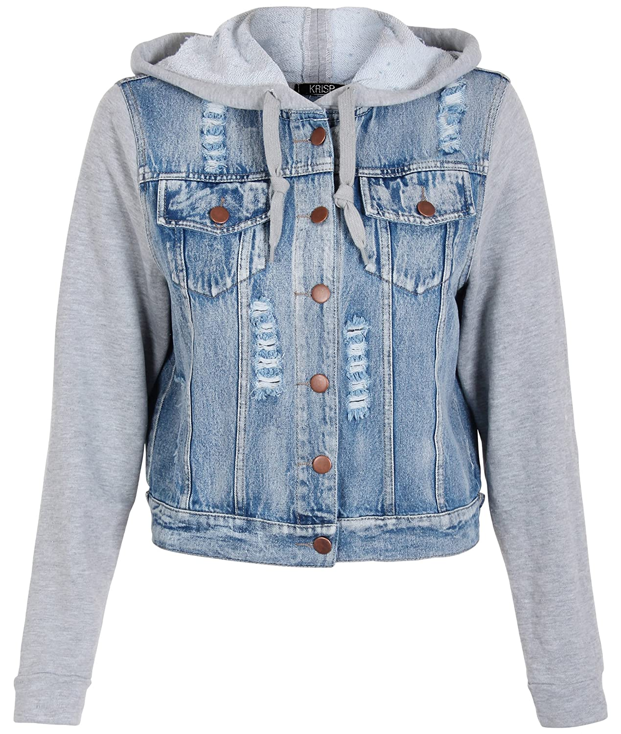 3882-BLUGRY-XS: Jersey Sleeve Hood Light Wash Frayed Ripped Jean ...