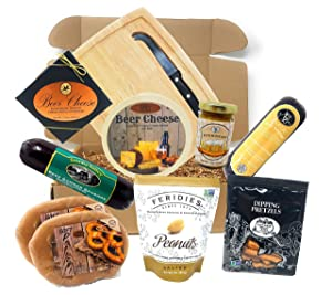 Gourmet Beer Cheese and Sausage Gift Basket Gift Box Set - Gift for Men - Fathers Day or Birthday, Gift for Dad, Husband, Boyfriend