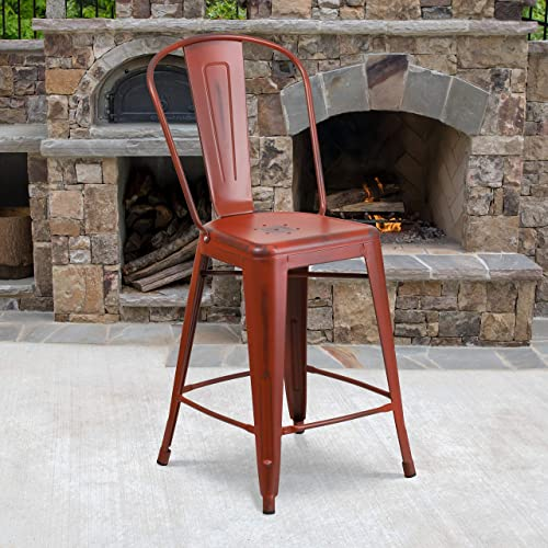 Flash Furniture Commercial Grade 4 Pack 24″ High Distressed Kelly Red Metal Indoor-Outdoor Counter Height Stool