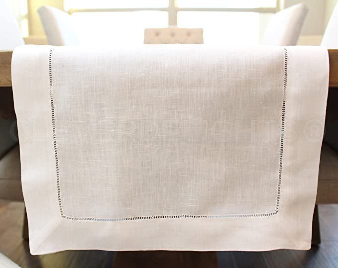 CleverDelights White Hemstitched Table Runner 16 x 108-45//55 Cotton Linen Blend