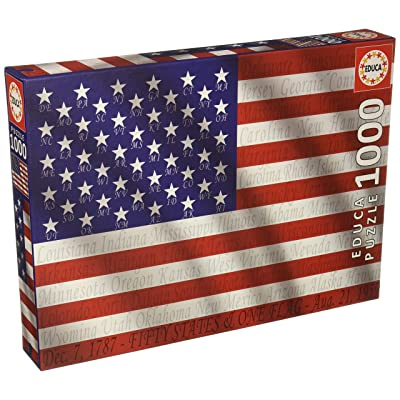 Educa 1000 Piece American Flag Puzzle with State Names: Toys & Games