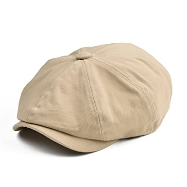 838dfed0f0e BOTVELA Men 8 Panel Newsboy Cap Light Washed Cotton Canvas Gatsby Retro  Golf Hat (Khaki