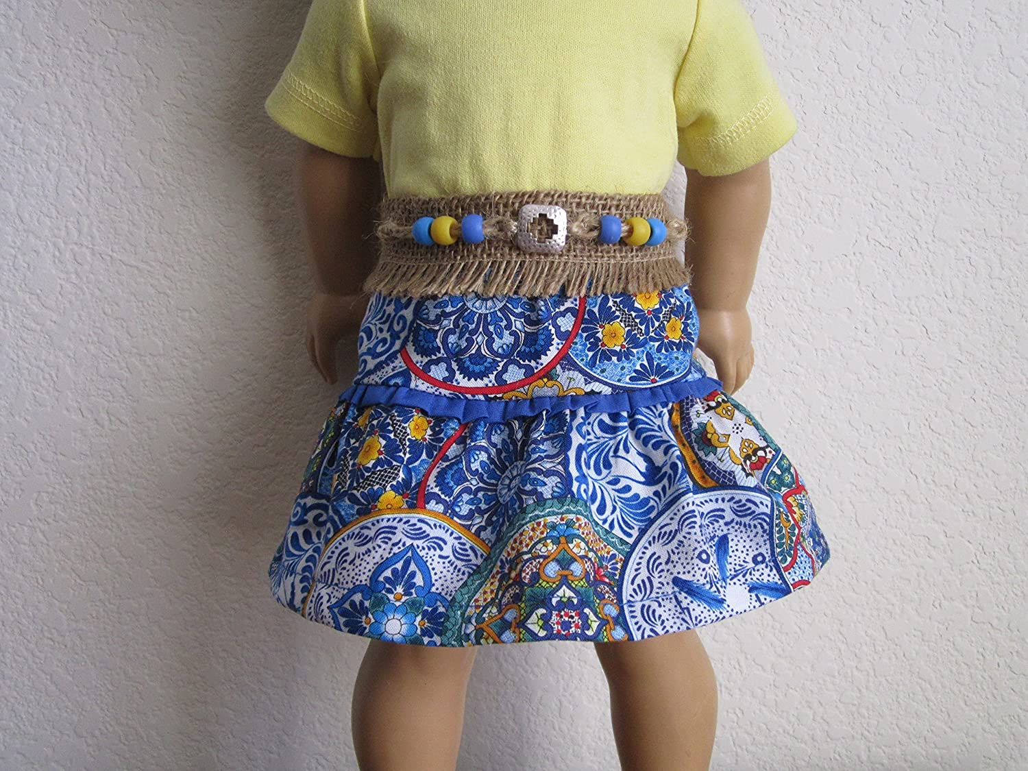 Southwest Talavera Skirt with Concho Belt with Beads fit American Girl Colorful