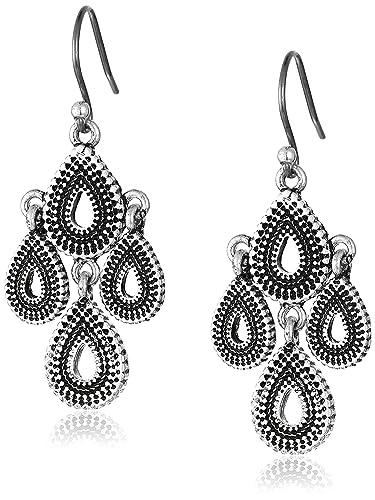 Lucky Brand Blue Moon Moveable Tribal Chandelier Earrings (Silver) Earring WLkq91nhQ