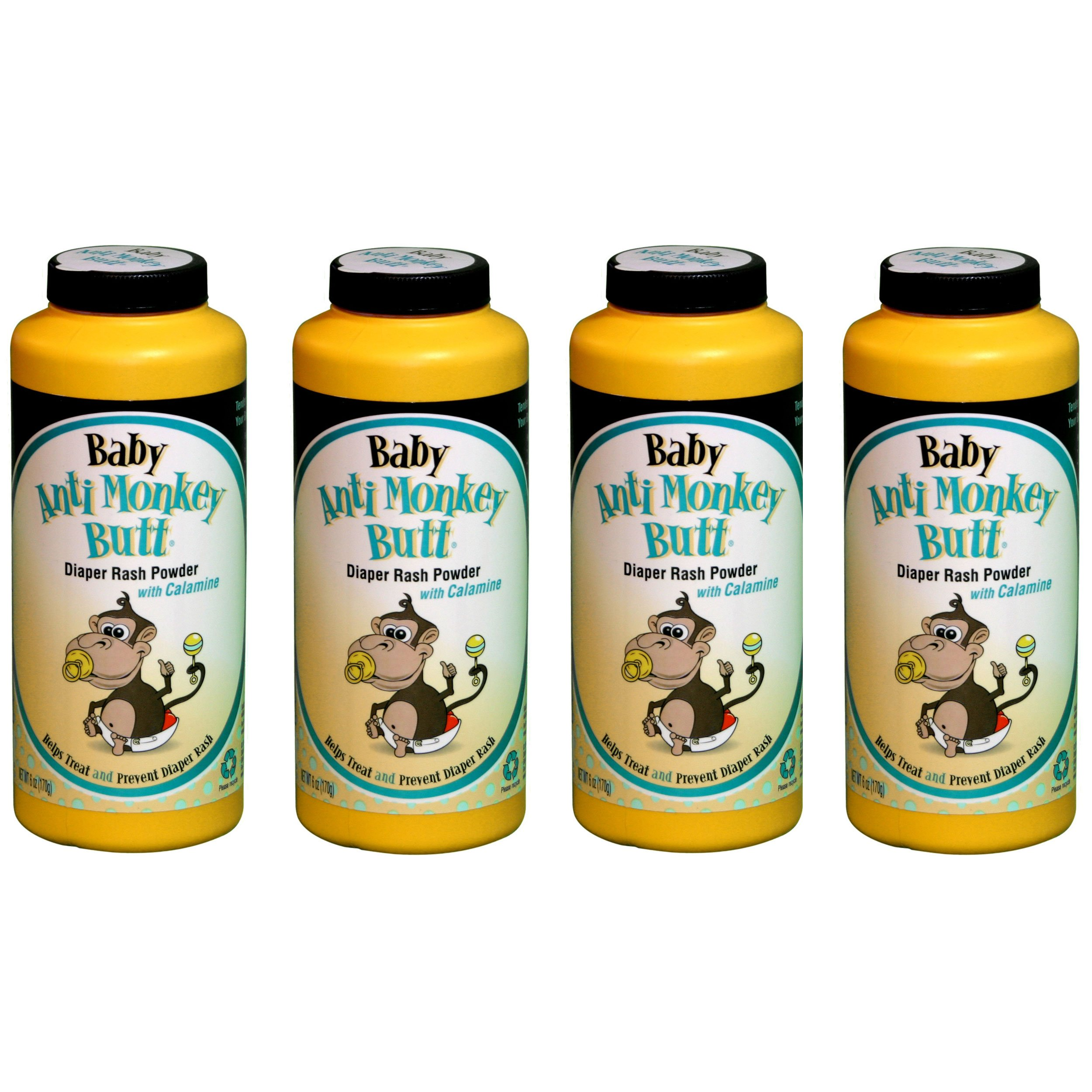 Anti Monkey Baby Butt Diaper Rash Powder with Calamine 6 oz (4 Pack) by Anti Monkey Butt